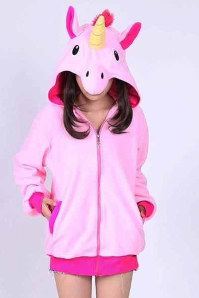 High Quality Autumn Spring Women Blue Pink Purple Unicorn Zip Up Hoodies Top Animal Kiguruma Cosplay Coat Jacket Sweatshirts pink