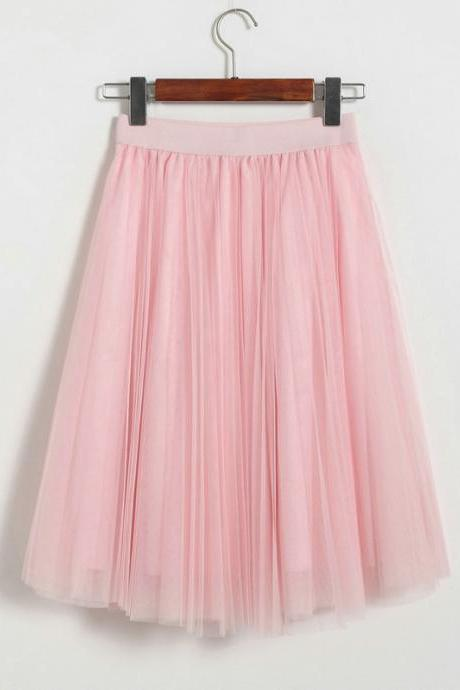 3 Layers Tulle Tutu Skirt Women Summer Pleated Midi Skirt High Waist Petticoat Underskirt pink