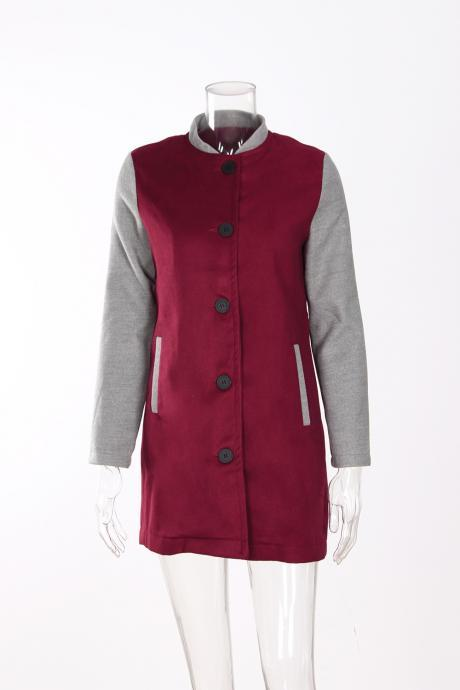 Women Lady Long Woolen Coat Autumn Winter Long Sleeve Contrast Color Patchwork Warm Slim Jackets burgundy+gray