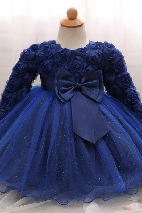 Toddler Girl Dress Newborn Baby Kids Lace Long Sleeve Infant Ball Gown Flower Girl Dress Bow Children Clothes royal blue