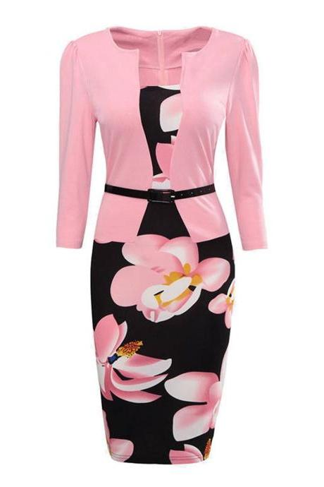 Women Bodycon Office Party Dress 3/4 Sleeve Floral Printed Patchwork Fake Two Piece Belted Pencil Dress1#