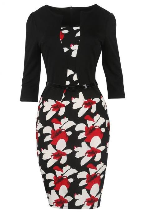 Women Bodycon Office Party Dress 3/4 Sleeve Floral Printed Patchwork Fake Two Piece Belted Pencil Dress2#