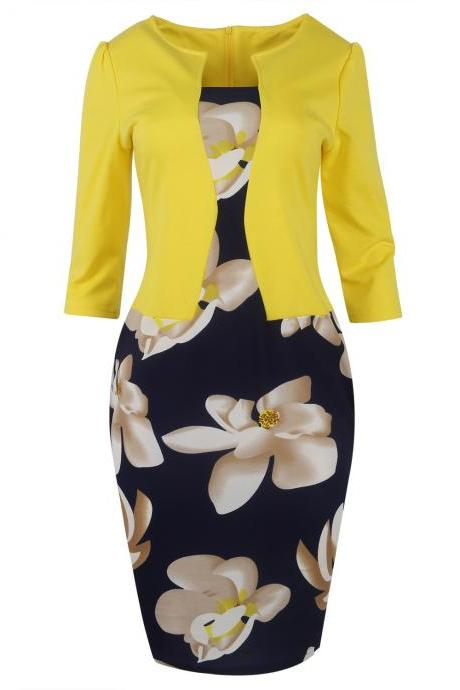 Women Bodycon Office Party Dress 3/4 Sleeve Floral Printed Patchwork Fake Two Piece Belted Pencil Dress3#
