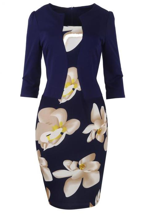 Women Bodycon Office Party Dress 3/4 Sleeve Floral Printed Patchwork Fake Two Piece Belted Pencil Dress4#