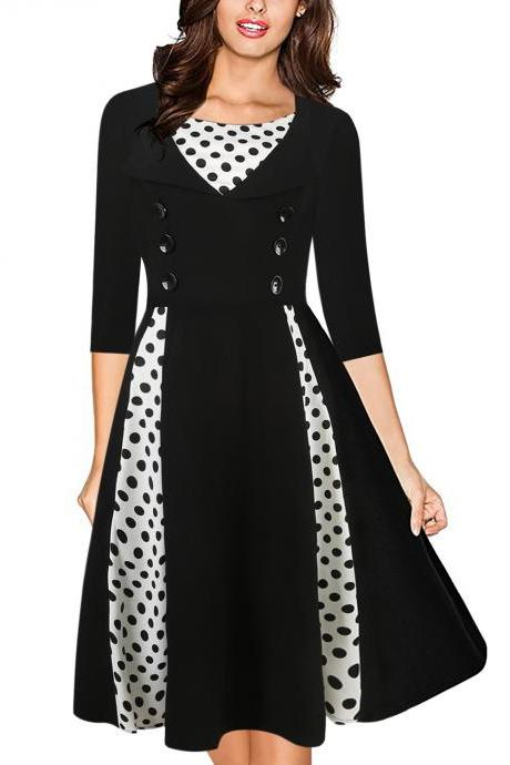 3f13346e0824 Women Vintage 50s 60s Audrey Hepburn Dress Half Sleeve Polka Dot Patchwork  Casual Rockabilly Party Cocktail