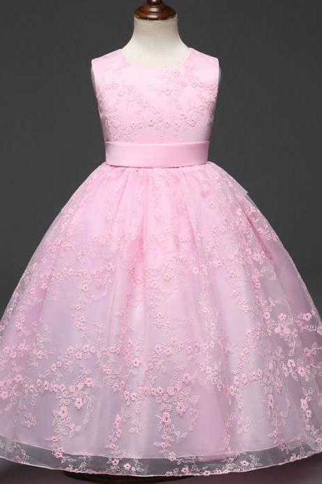 Kids Floral Lace Flower Girls Dress Princess Party Wedding Bridesmaid Formal Pageant Gown Children Clothes pink