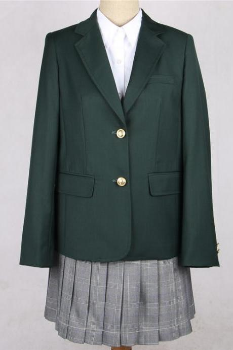 Japanese JK Women Girl School Uniform Suit Coat Students Jacket Blazer Outerwear hunter green