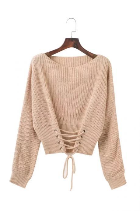 Fashion Autumn Winter Casual Knitted Sweater Solid Long Sleeve Lace up Women Tops Girls Short Pullovers khaki