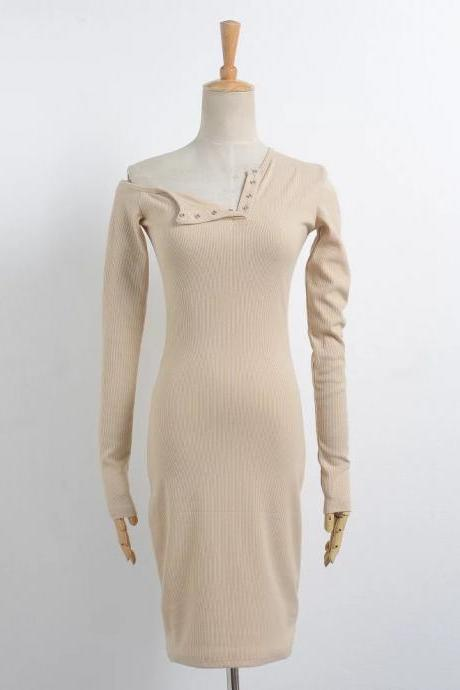 Off the Shoulder One Shoulder Bodycon Dress Slim Long Sleeve Button Evening Party Club Sexy T-Shirt Dress khaki