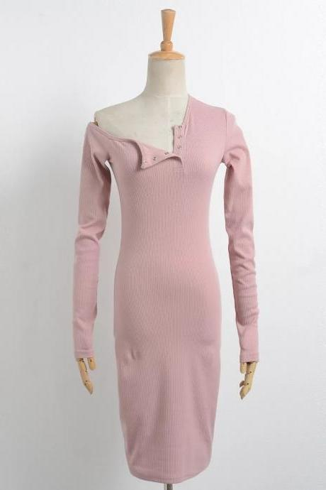 Off the Shoulder One Shoulder Bodycon Dress Slim Long Sleeve Button Evening Party Club Sexy T-Shirt Dress pink
