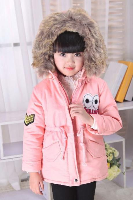New Winter Jackets Children Coat Warm Thick Cotton Girls Snowsuit Hooded Kids Outwear pink