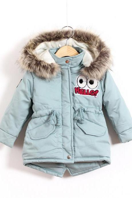 New Winter Jackets Children Coat Warm Thick Cotton Girls Snowsuit Hooded Kids Outwear light blue