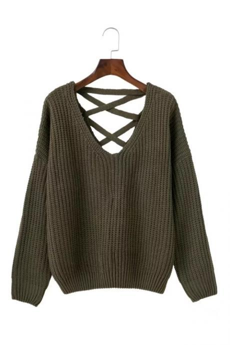 Autumn Winter Women Knitted Loose Sweaters Long Sleeve Street Back Lace up Sexy V Neck Pullovers army green