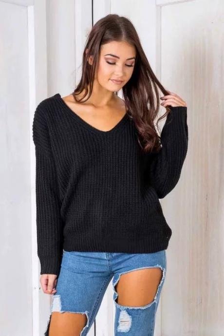 Autumn Winter Women Knitted Loose Sweaters Long Sleeve Street Back Lace up Sexy V Neck Pullovers black