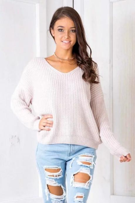 Autumn Winter Women Knitted Loose Sweaters Long Sleeve Street Back Lace up Sexy V Neck Pullovers light pink