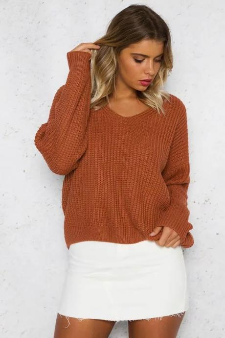 Autumn Winter Women Knitted Loose Sweaters Long Sleeve Street Back Lace up Sexy V Neck Pullovers orange