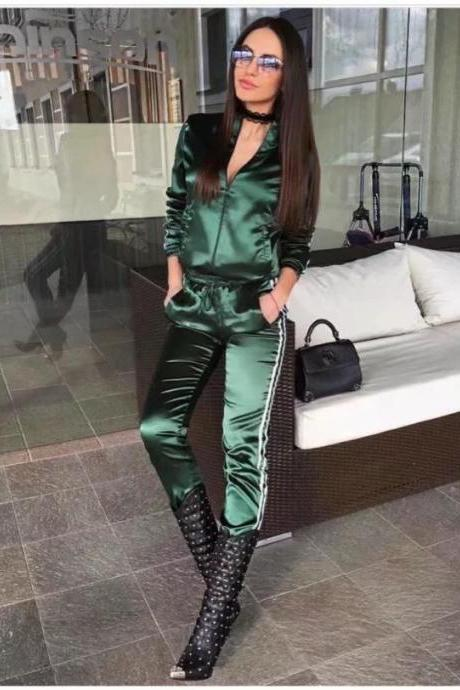 Fashion Side Striped Silky Satin Tracksuits Baseball Bomber Zipper Jacket+Long Pants 2 Pieces Suits Sets hunter green