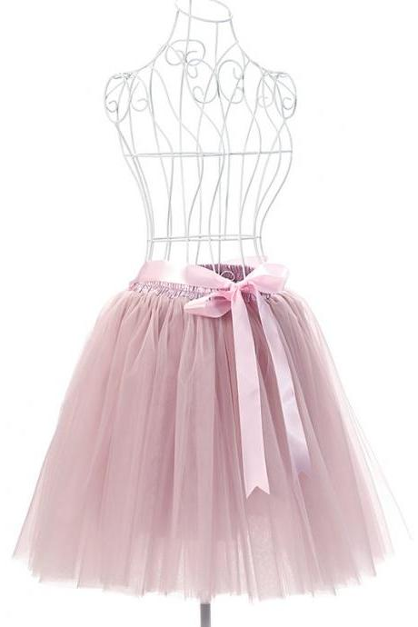 6 Layers Tulle Midi Lolita Skirt Women Adult Tutu Skirt American Apparel Wedding Bridesmaid Party Petticoat dusty pink
