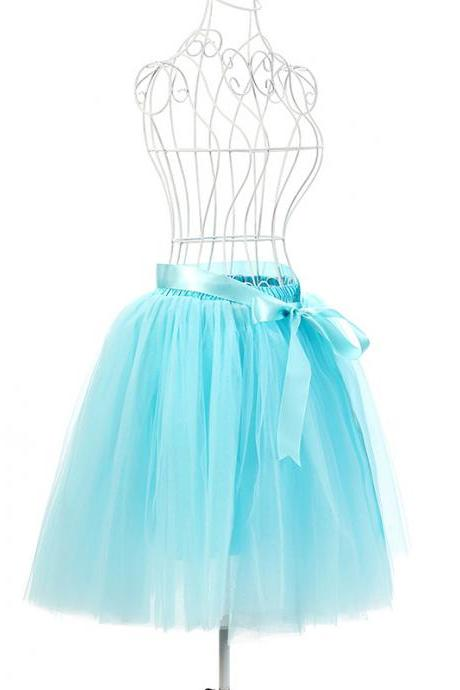 6 Layers Tulle Midi Lolita Skirt Women Adult Tutu Skirt American Apparel Wedding Bridesmaid Party Petticoat light blue