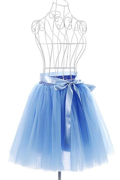 6 Layers Tulle Midi Lolita Skirt Women Adult Tutu Skirt American Apparel Wedding Bridesmaid Party Petticoat sky blue