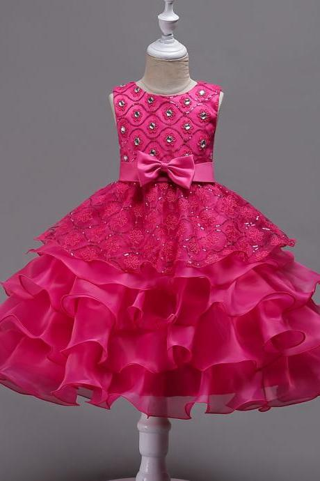Sequined Lace Flower Girl Dress Princess Children Clothes Wedding Birthday Party Prom Gowns hot pink