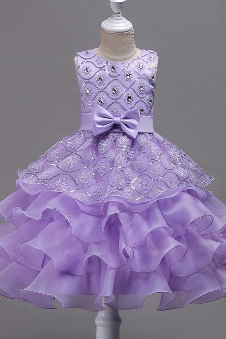 Sequined Lace Flower Girl Dress Princess Children Clothes Wedding Birthday Party Prom Gowns lilac