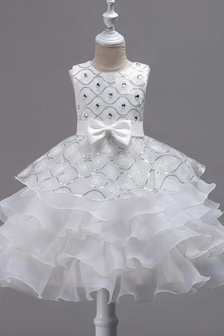 Sequined Lace Flower Girl Dress Princess Children Clothes Wedding Birthday Party Prom Gowns off white