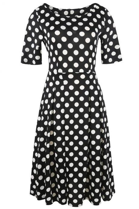 Vintage Polka Dot Dress Women Short Sleeve Pockets Skater A-Line Work Casual Party Dress black