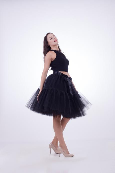 High Quality Lolita Skirt 5 Layers Tulle Midi Tutu Skirts Women Bridesmaid Wedding Party Petticoat black
