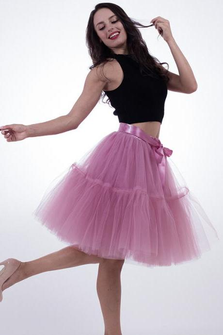 High Quality Lolita Skirt 5 Layers Tulle Midi Tutu Skirts Women Bridesmaid Wedding Party Petticoat dusty pink