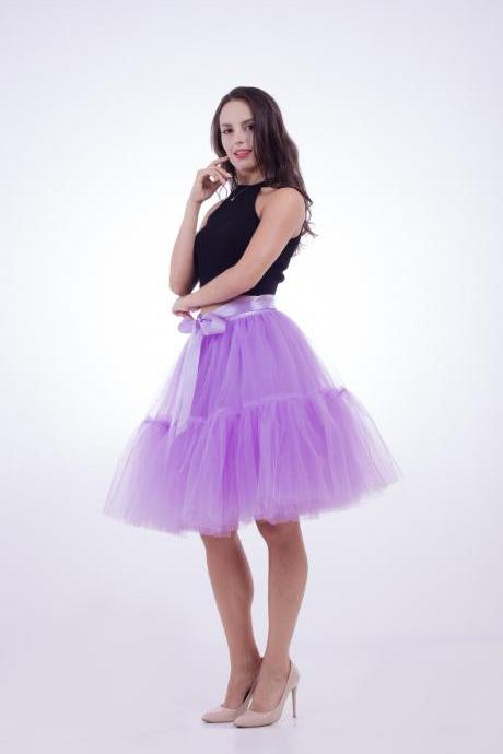High Quality Lolita Skirt 5 Layers Tulle Midi Tutu Skirts Women Bridesmaid Wedding Party Petticoat lilac