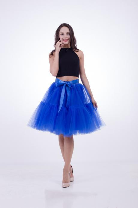 High Quality Lolita Skirt 5 Layers Tulle Midi Tutu Skirts Women Bridesmaid Wedding Party Petticoat royal blue
