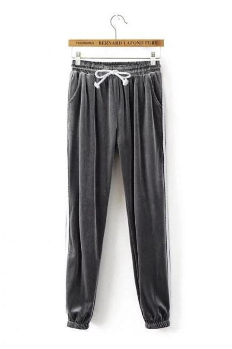 Sweatpants Women Sport Pants Joggers Casual Harlan Yoga Gym Side Striped Pleuche Drawstring High Waist Lady Femme Trousers gray