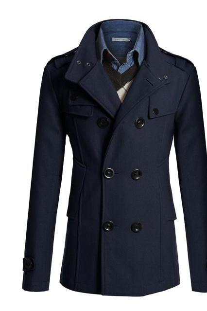 Men Woolen Coat Warm Thick Double Breasted Stand Collar Windbreaker Casual Outwear Overcoat Business Parkas navy blue
