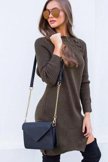 Elegant Lace up Sweater Women Casual Long Sleeve Knitted Split Autumn Winter Femme Pullover army green