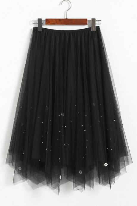 Beaded Women Midi Asymmetrical Skirt Girls High Waist Autumn Winter Tulle A Line Skater Skirt black