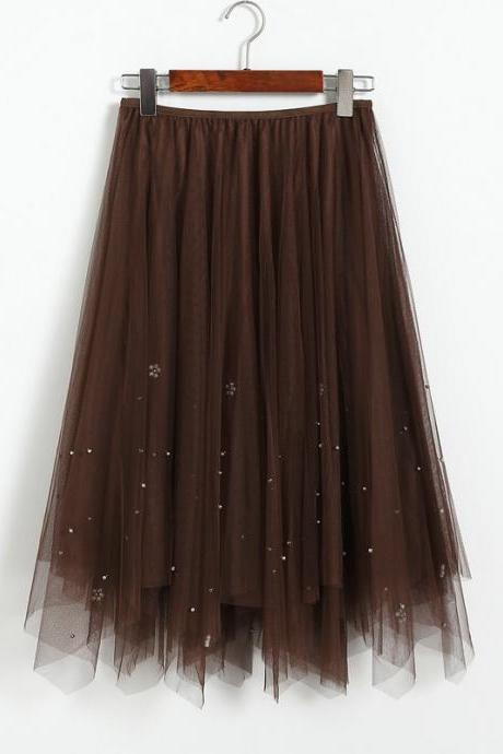 Beaded Women Midi Asymmetrical Skirt Girls High Waist Autumn Winter Tulle A Line Skater Skirt coffee