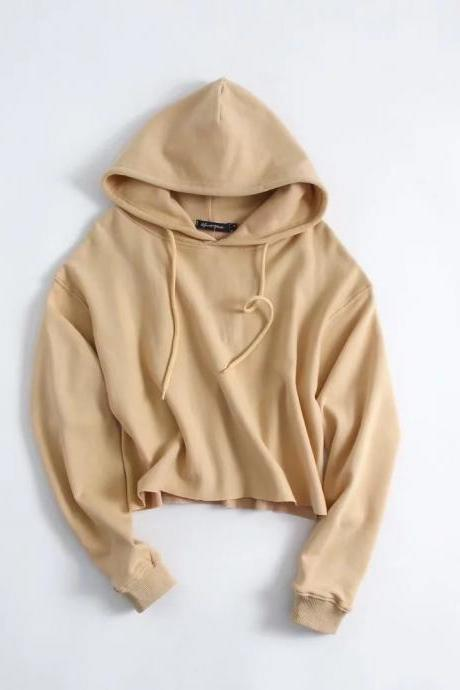 Drawstring Cropped Women Hoodie Sweatshirt Autumn Street Style Casual Short Pullovers khaki