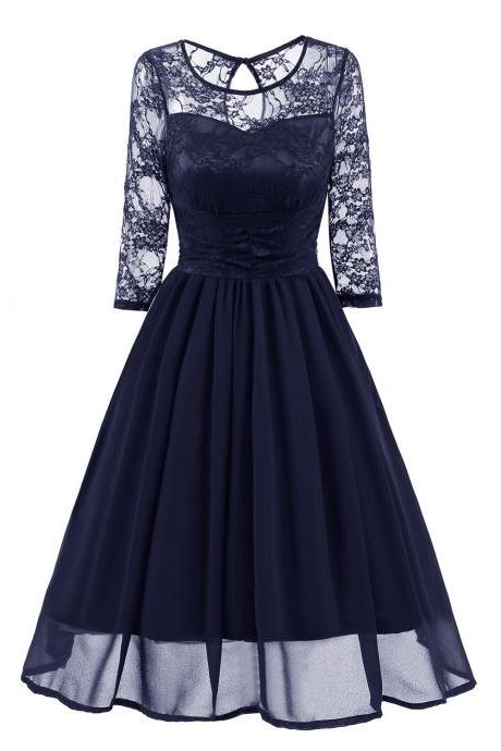 Vintage Lace Dress 3/4 Sleeve Women Chiffon Pleated Evening Party Swing A Line Dress navy blue