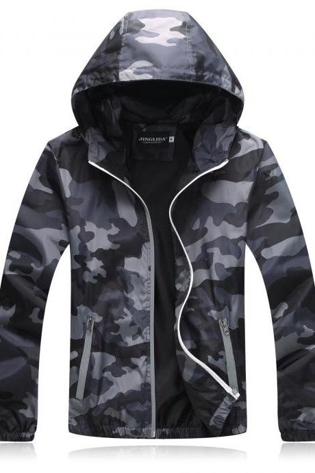 Unisex Men Women Coats Casual Hooded Camouflage Jackets Outerwear Waterproof Spring Autumn Windbreaker gray