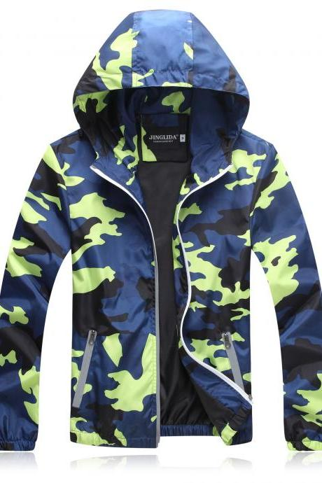 Unisex Men Women Coats Casual Hooded Camouflage Jackets Outerwear Waterproof Spring Autumn Windbreaker green