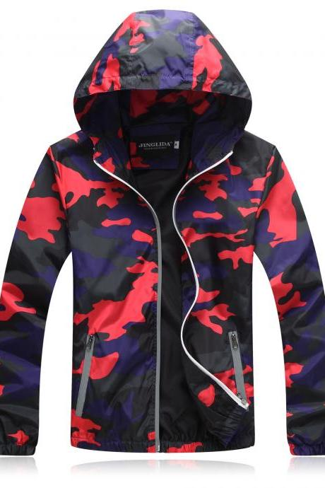 Unisex Men Women Coats Casual Hooded Camouflage Jackets Outerwear Waterproof Spring Autumn Windbreaker red