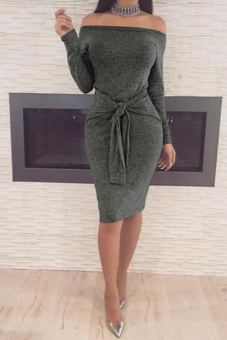 Off Shoulder Slash Neck Women Dress Long Sleeve Slim Bodycon Knee-Length Party Night Sexy Club Dress dark gray