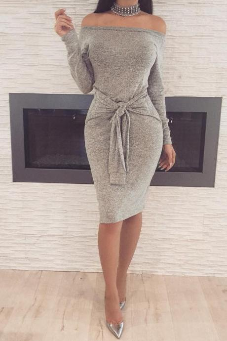Off Shoulder Slash Neck Women Dress Long Sleeve Slim Bodycon Knee-Length Party Night Sexy Club Dress gray