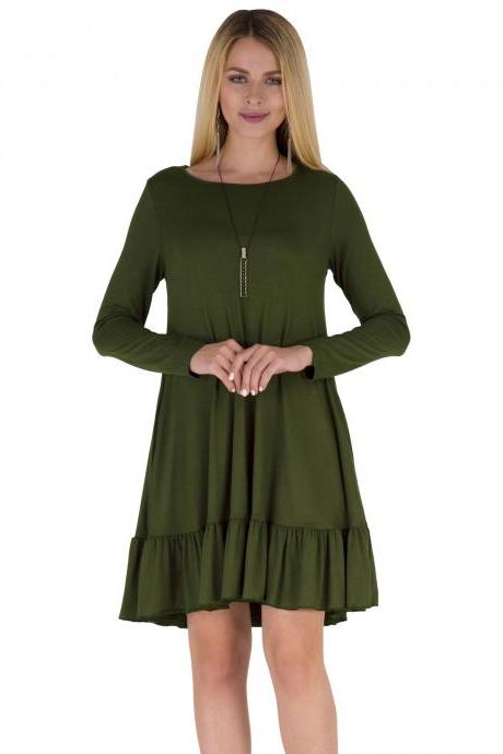 Women Ruffles Casual Dress Autumn Long Sleeve A Line Loose Pocket Female Short Mini Party Dress army green