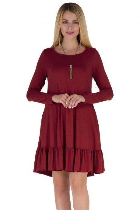 Burgundy Round Neck Casual Autumn Shift Dress with Ruffle Hem and Side Pockets
