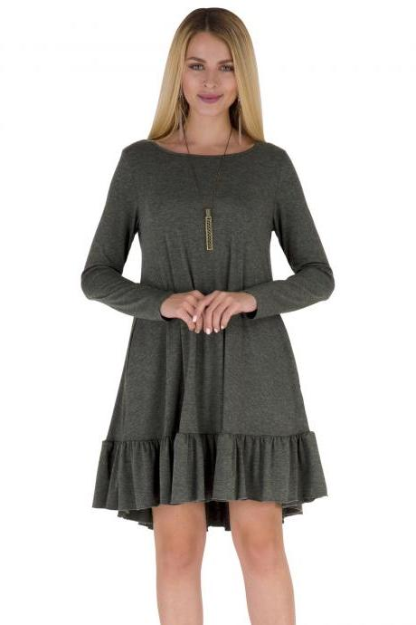 Dark Grey Round Neck Casual Autumn Shift Dress with Ruffle Hem and Side Pockets