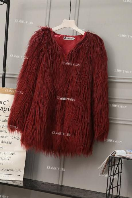 Plus Size Women Fluffy Faux Fur Coats Long Sleeve Winter Warm Long Jackets Female Outerwear burgundy