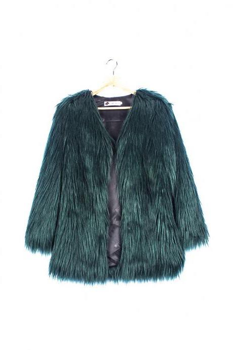 Plus Size Women Fluffy Faux Fur Coats Long Sleeve Winter Warm Long Jackets Female Outerwear hunter green