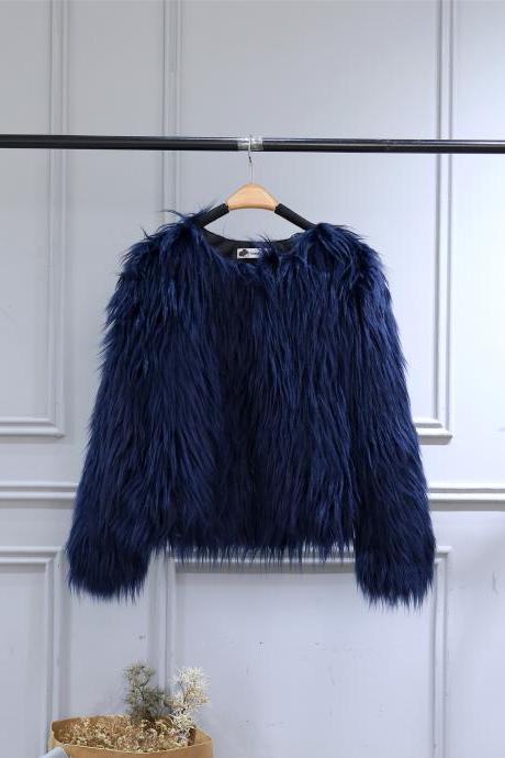 Plus Size Women Fluffy Faux Fur Coats Long Sleeve Winter Warm Long Jackets Female Outerwear navy blue